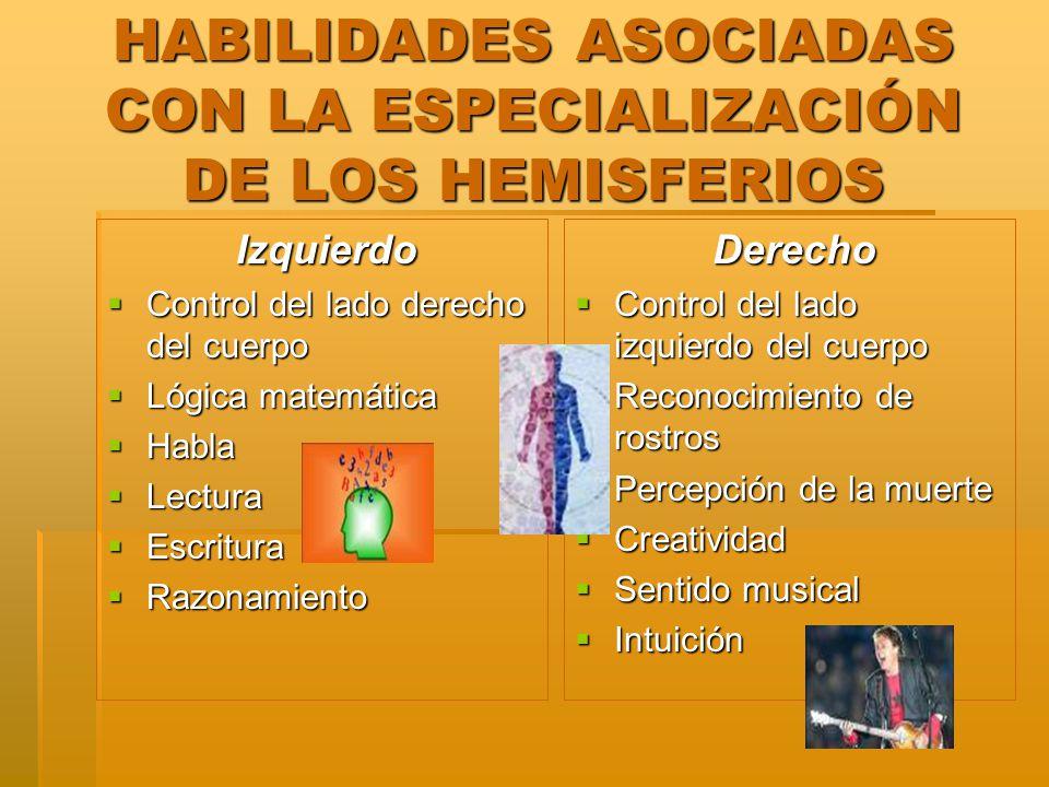 HABILIDADES ASOCIADAS CON LA ESPECIALIZACIÓN DE LOS HEMISFERIOS