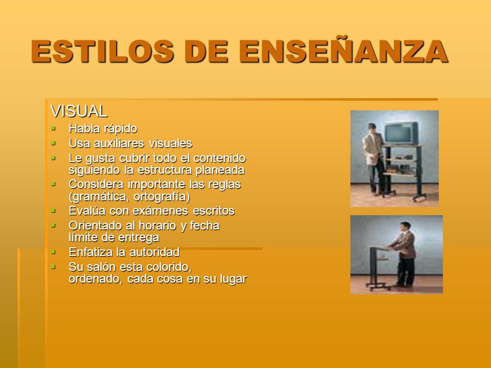 ESTILOS DE ENSEÑANZA VISUAL Habla rápido Usa auxiliares visuales