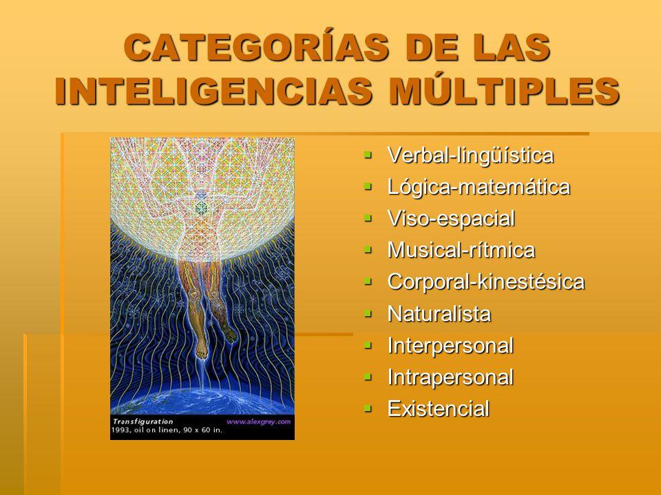 CATEGORÍAS DE LAS INTELIGENCIAS MÚLTIPLES