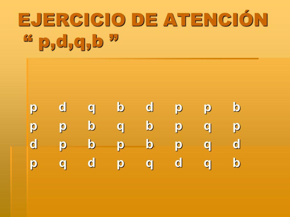EJERCICIO DE ATENCIÓN p,d,q,b
