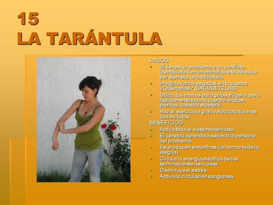 15 LA TARÁNTULA PASOS. Si tienes un problema o un conflicto, identifícalo con un animal que te de asco, por ejemplo, una tarántula.