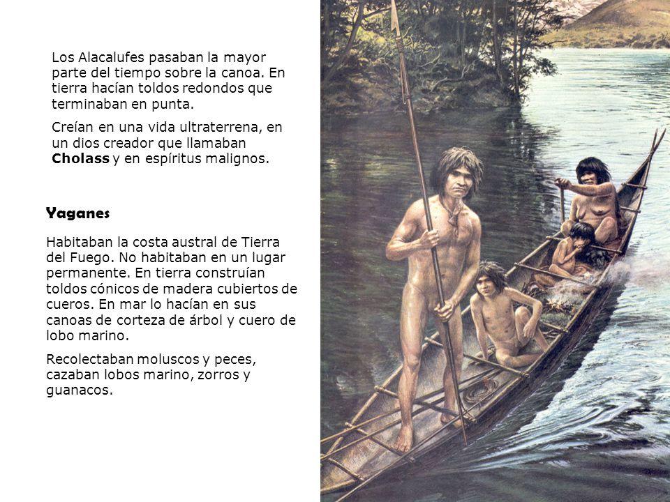 Los Alacalufes pasaban la mayor parte del tiempo sobre la canoa