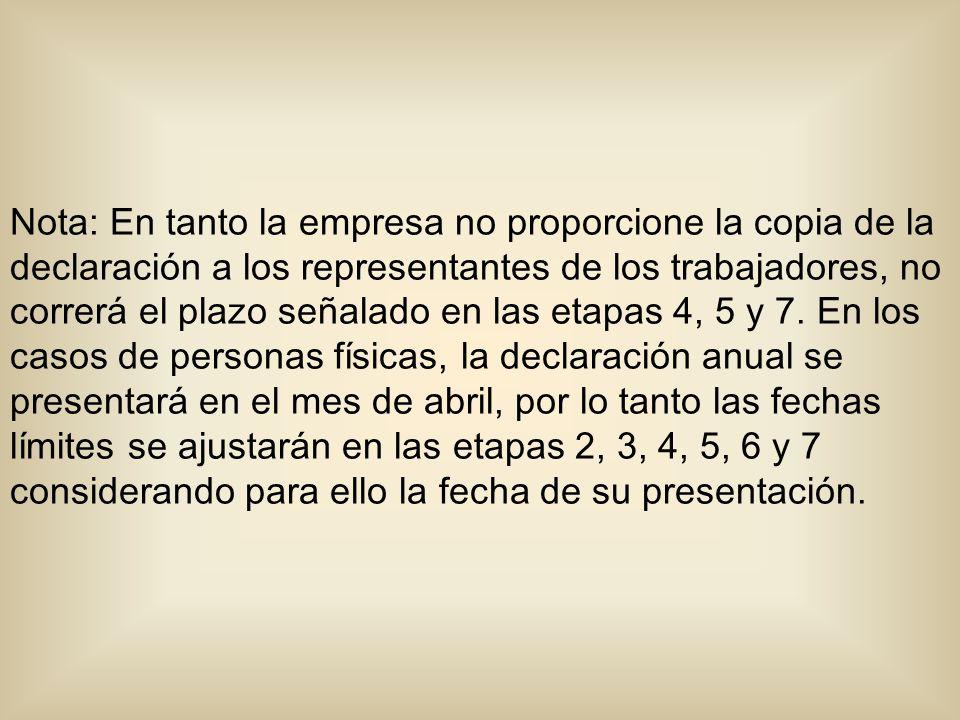 Nota: En tanto la empresa no proporcione la copia de la declaración a los representantes de los trabajadores, no correrá el plazo señalado en las etapas 4, 5 y 7.