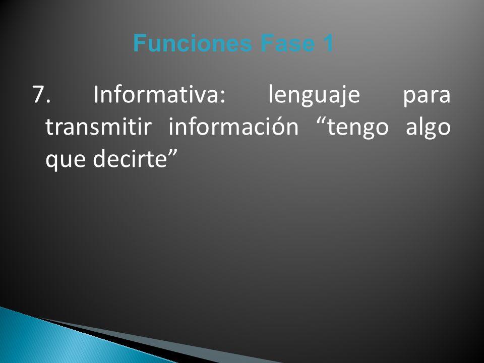 Funciones Fase 1 7. Informativa: lenguaje para transmitir información tengo algo que decirte