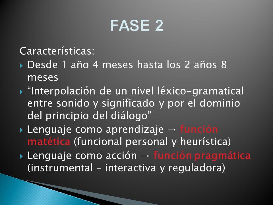 FASE 2 Características: Desde 1 año 4 meses hasta los 2 años 8 meses