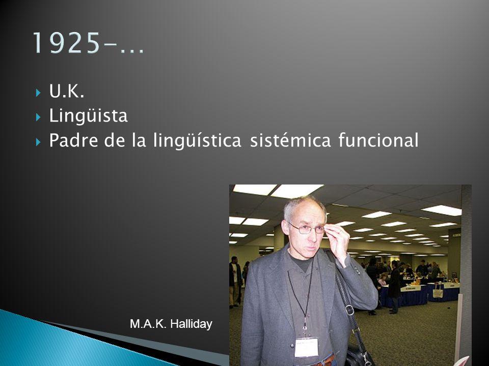 1925-… U.K. Lingüista Padre de la lingüística sistémica funcional