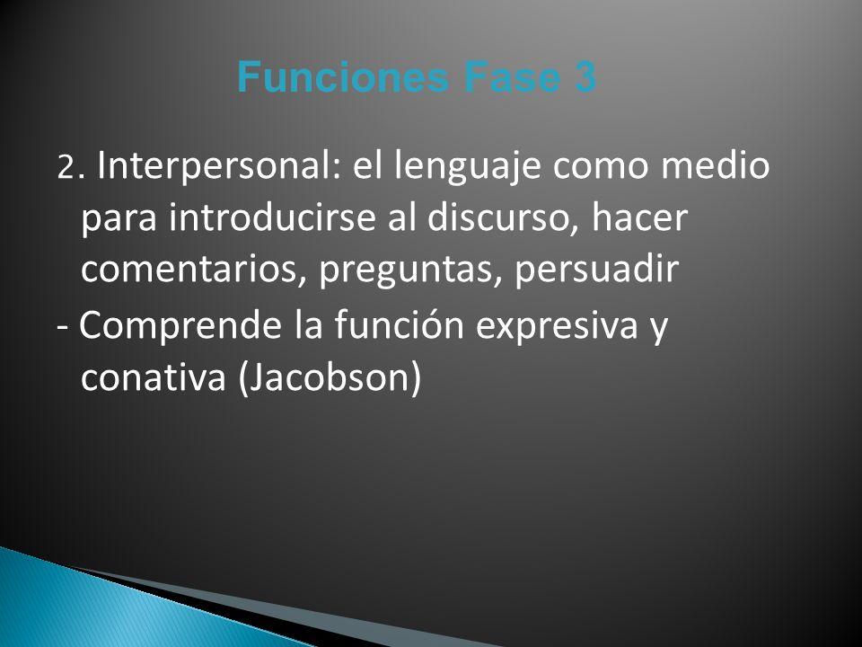 - Comprende la función expresiva y conativa (Jacobson)