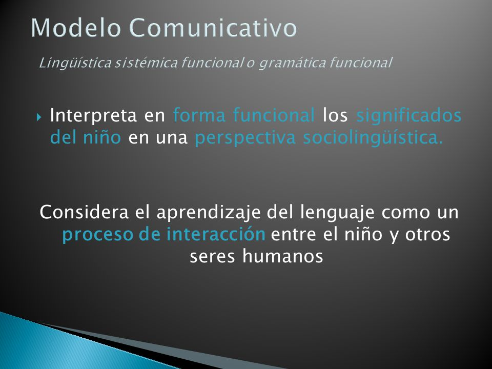 Modelo Comunicativo Lingüística sistémica funcional o gramática funcional