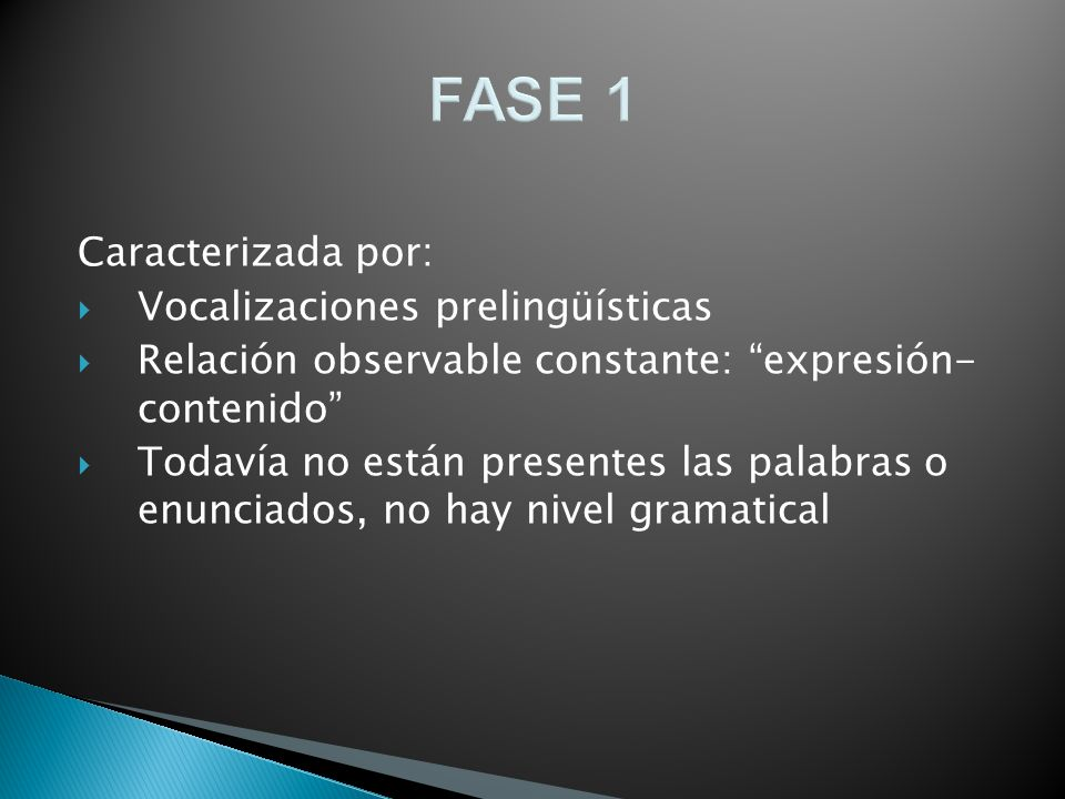 FASE 1 Caracterizada por: Vocalizaciones prelingüísticas