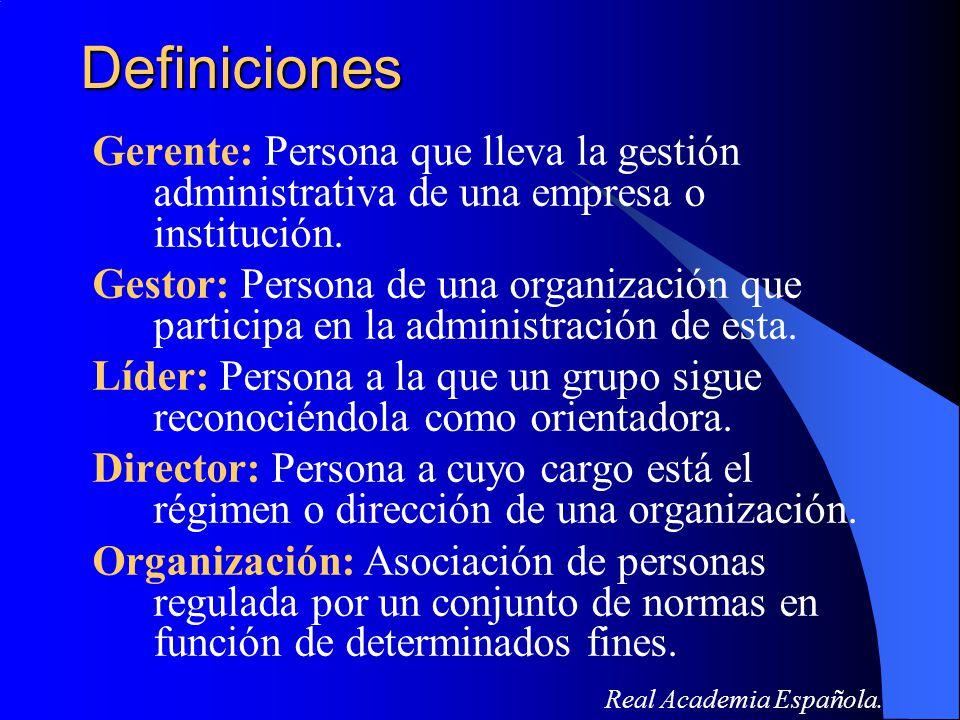 Definiciones Gerente: Persona que lleva la gestión administrativa de una empresa o institución.