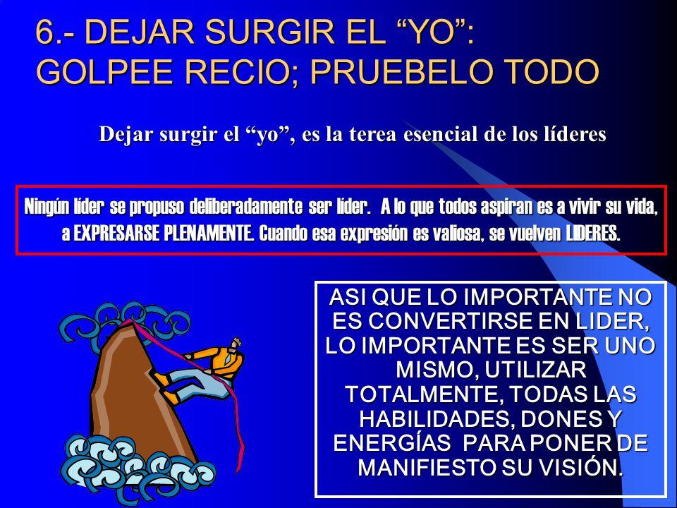 6.- DEJAR SURGIR EL YO : GOLPEE RECIO; PRUEBELO TODO