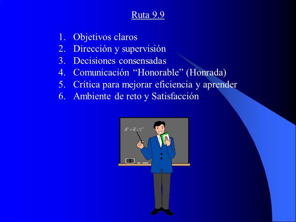 Ruta 9.9 Objetivos claros. Dirección y supervisión. Decisiones consensadas. Comunicación Honorable (Honrada)