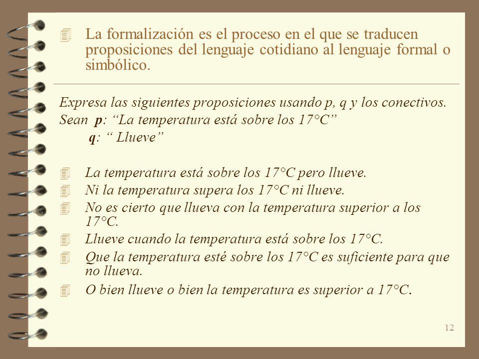 La formalización es el proceso en el que se traducen proposiciones del lenguaje cotidiano al lenguaje formal o simbólico.