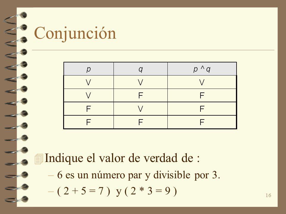 Conjunción Indique el valor de verdad de :