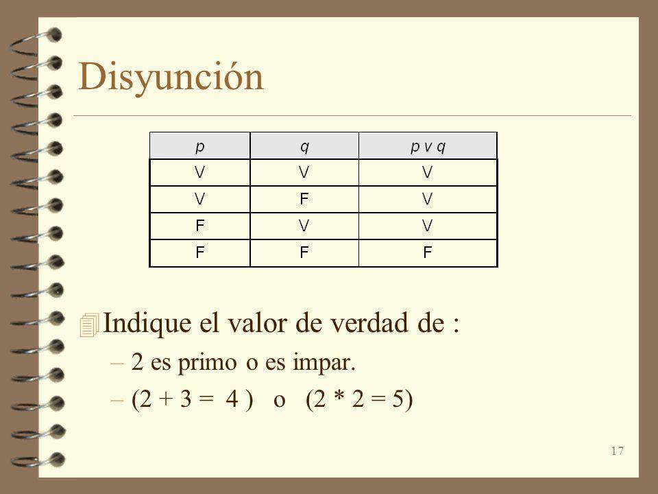 Disyunción Indique el valor de verdad de : 2 es primo o es impar.