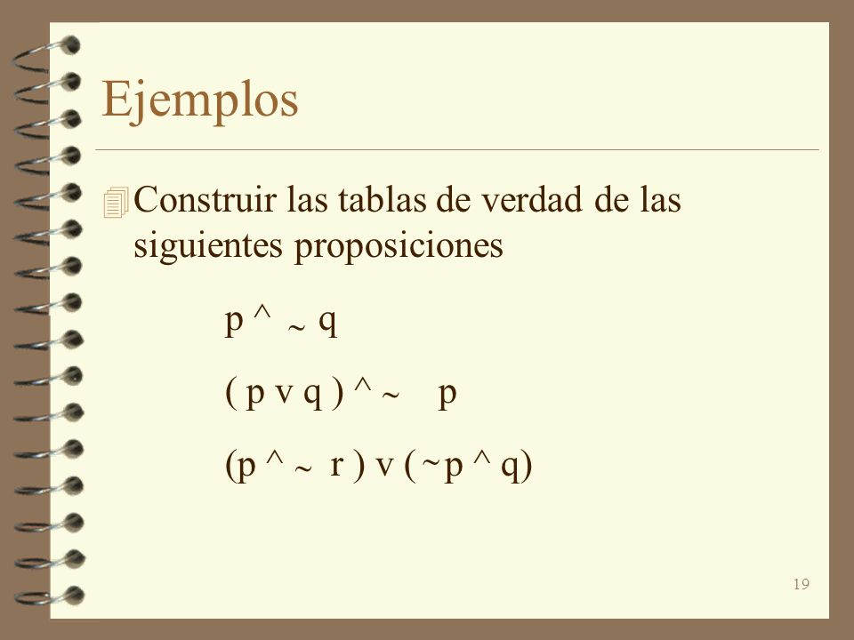 Ejemplos Construir las tablas de verdad de las siguientes proposiciones. p ^ q. ( p v q ) ^ p.