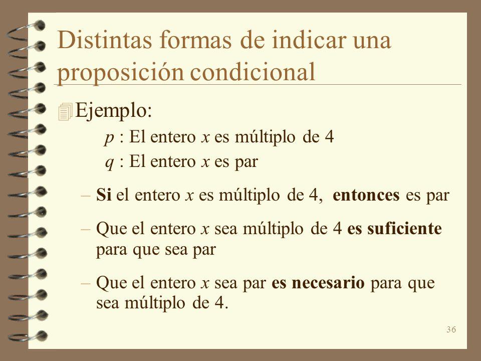 Distintas formas de indicar una proposición condicional