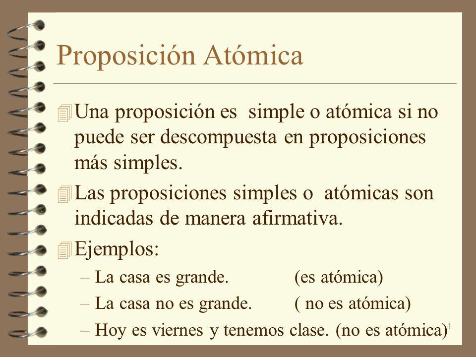 Proposición Atómica Una proposición es simple o atómica si no puede ser descompuesta en proposiciones más simples.