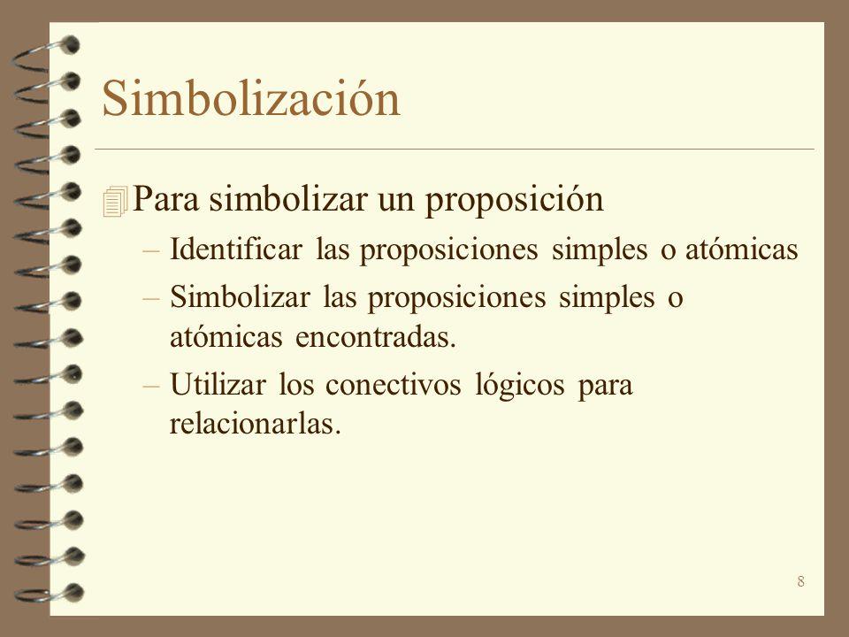 Simbolización Para simbolizar un proposición