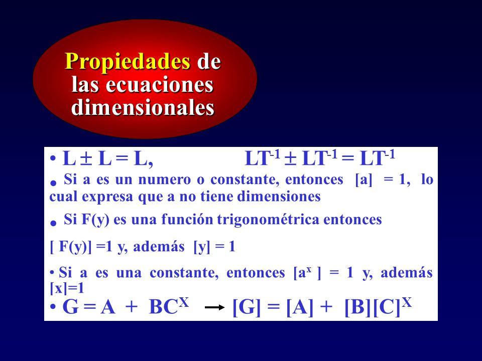 Propiedades de las ecuaciones dimensionales