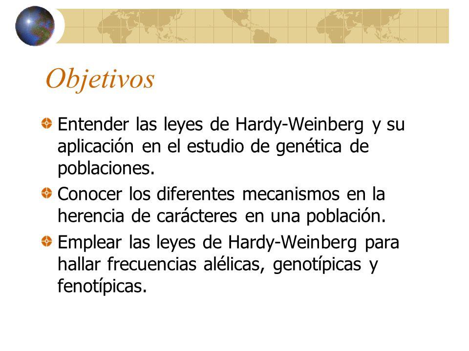 Objetivos Entender las leyes de Hardy-Weinberg y su aplicación en el estudio de genética de poblaciones.