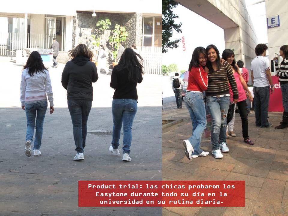 Product trial: las chicas probaron los Easytone durante todo su día en la universidad en su rutina diaria.