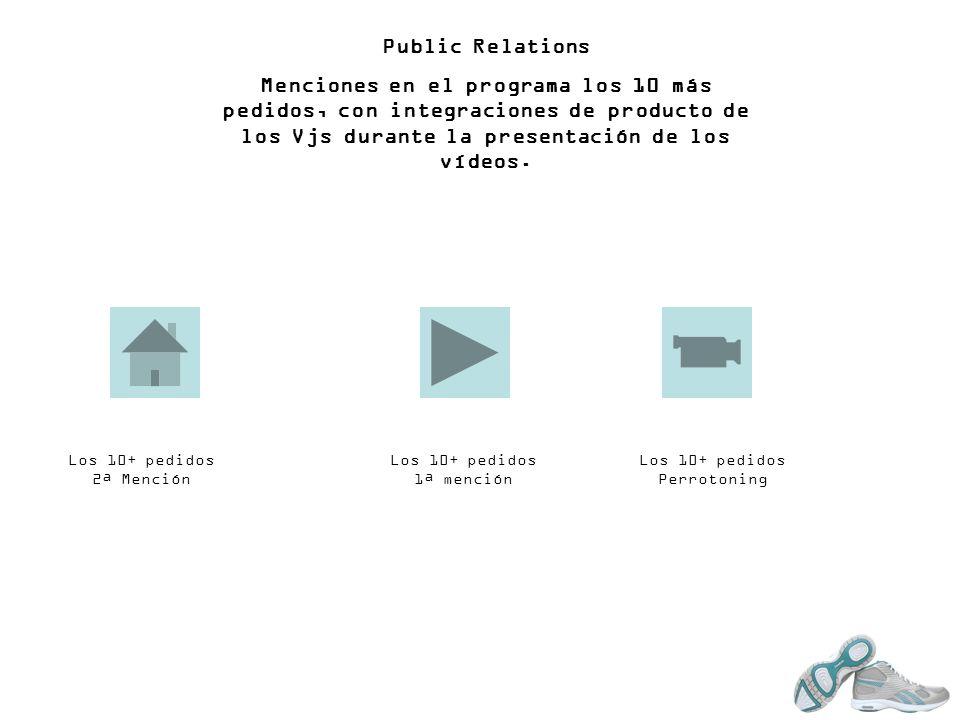Public Relations Menciones en el programa los 10 más pedidos, con integraciones de producto de los Vjs durante la presentación de los vídeos.