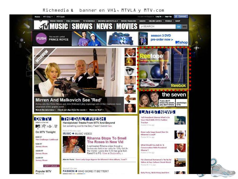 Richmedia & banner en VH1, MTVLA y MTV.com