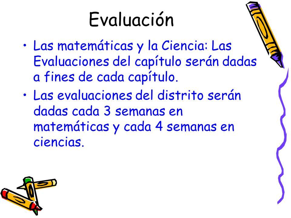 Evaluación Las matemáticas y la Ciencia: Las Evaluaciones del capítulo serán dadas a fines de cada capítulo.