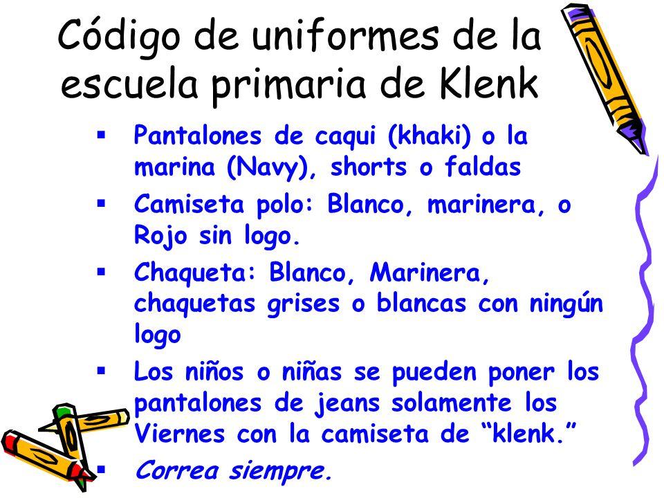Código de uniformes de la escuela primaria de Klenk