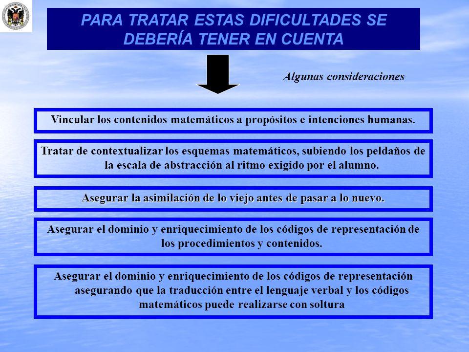 PARA TRATAR ESTAS DIFICULTADES SE DEBERÍA TENER EN CUENTA