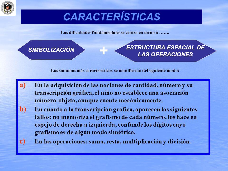 CARACTERÍSTICAS Las dificultades fundamentales se centra en torno a ……. SIMBOLIZACIÓN. + ESTRUCTURA ESPACIAL DE.