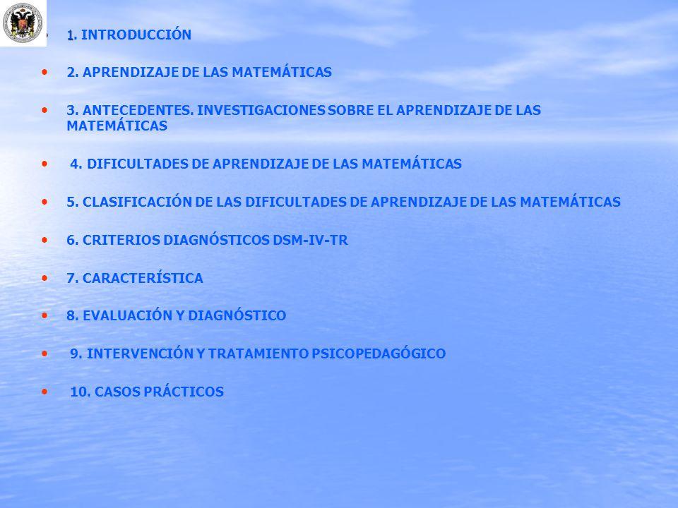 1. INTRODUCCIÓN 2. APRENDIZAJE DE LAS MATEMÁTICAS. 3. ANTECEDENTES. INVESTIGACIONES SOBRE EL APRENDIZAJE DE LAS MATEMÁTICAS.