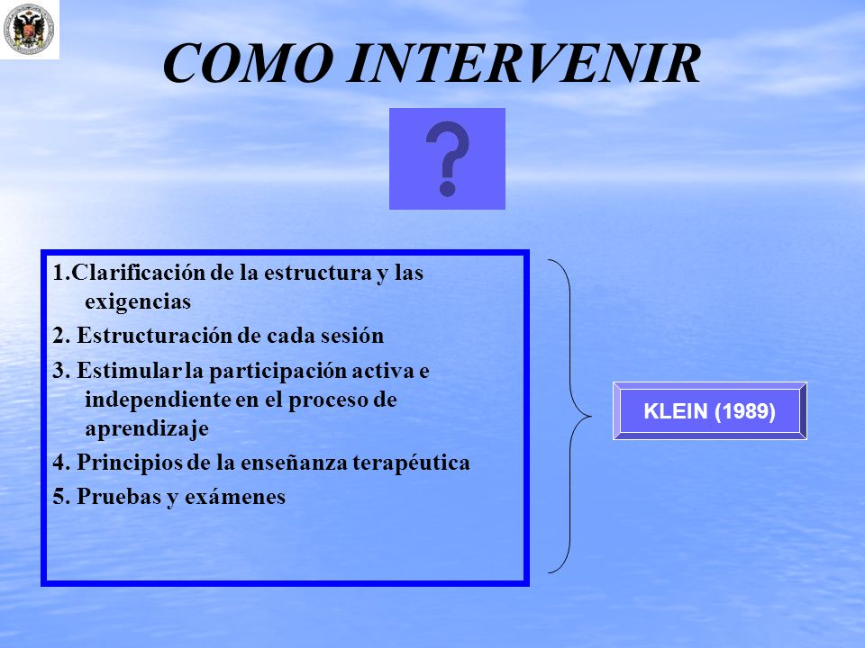 COMO INTERVENIR 1.Clarificación de la estructura y las exigencias