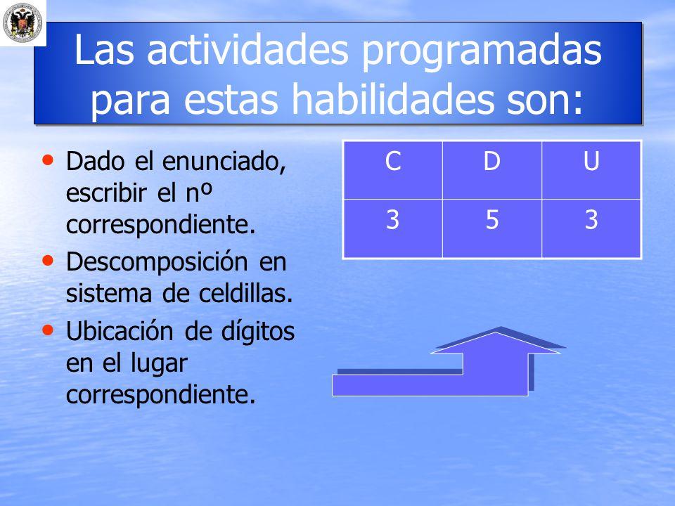 Las actividades programadas para estas habilidades son:
