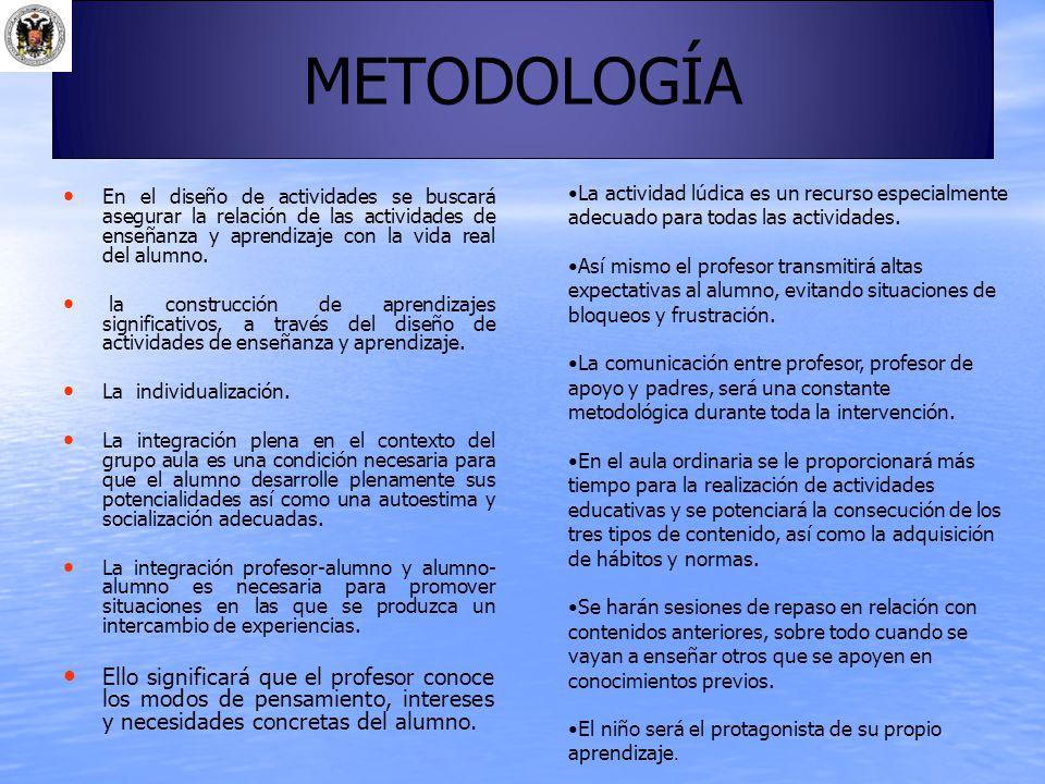 METODOLOGÍA La actividad lúdica es un recurso especialmente adecuado para todas las actividades.