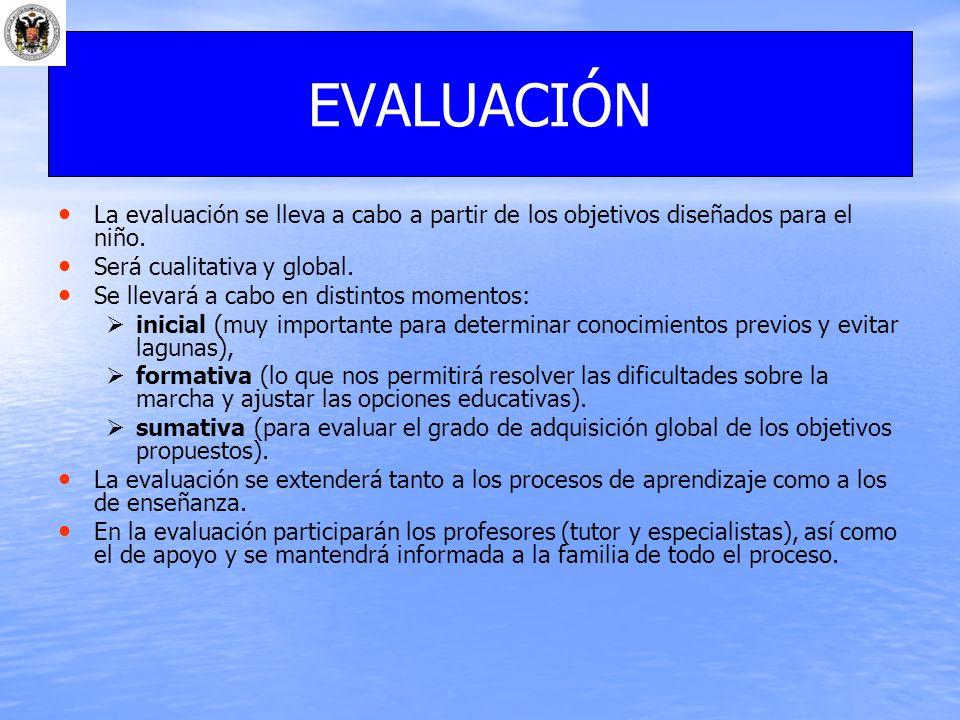 EVALUACIÓN La evaluación se lleva a cabo a partir de los objetivos diseñados para el niño. Será cualitativa y global.
