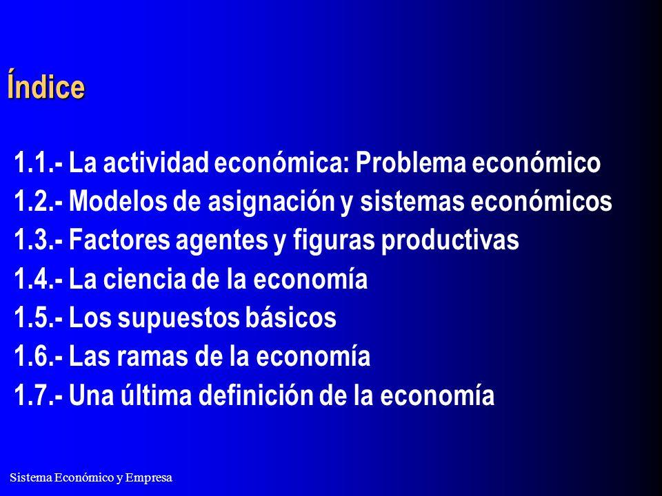 Índice 1.1.- La actividad económica: Problema económico