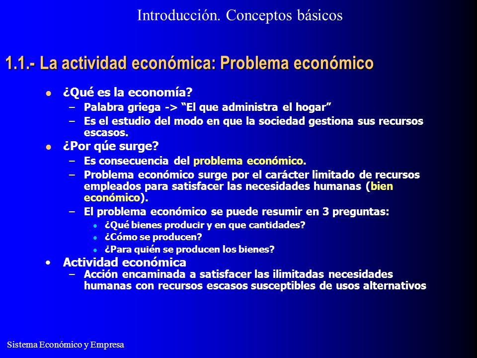 1.1.- La actividad económica: Problema económico