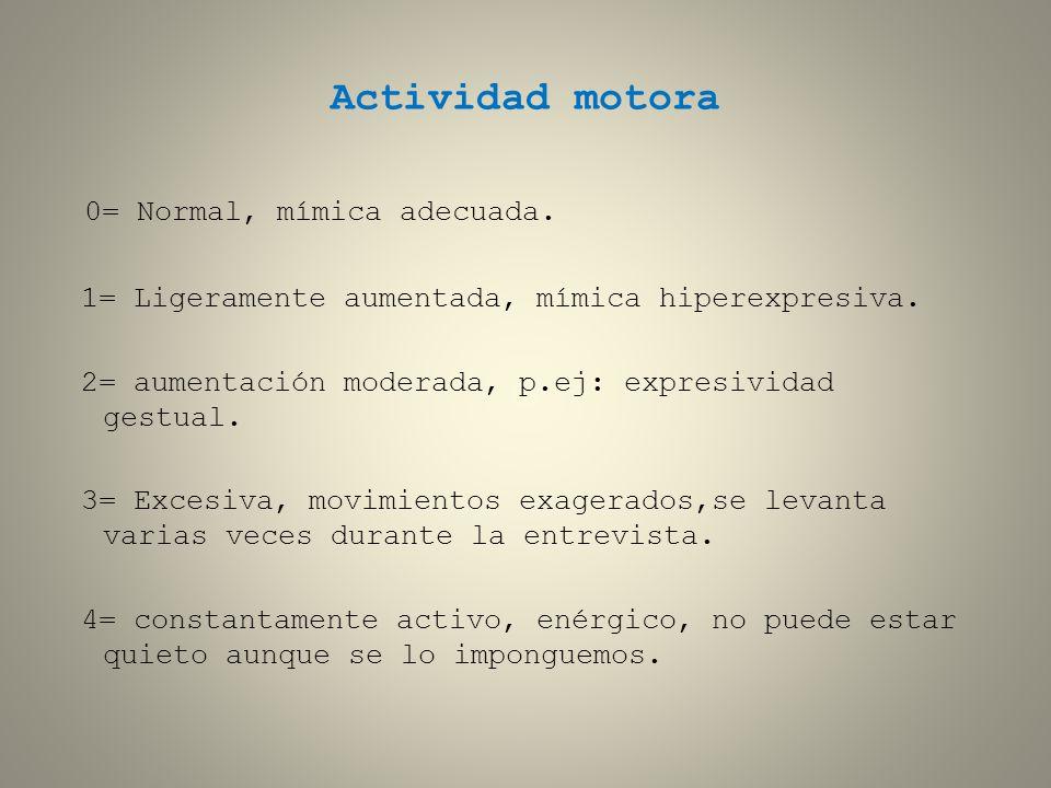 Actividad motora 0= Normal, mímica adecuada.