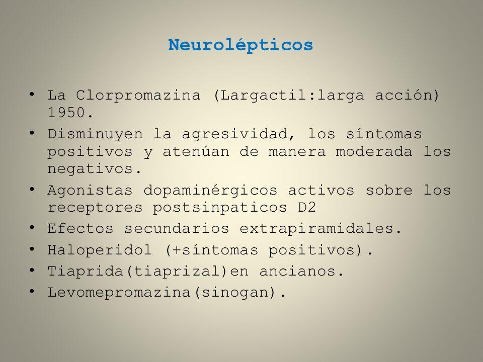 Neurolépticos La Clorpromazina (Largactil:larga acción) 1950.