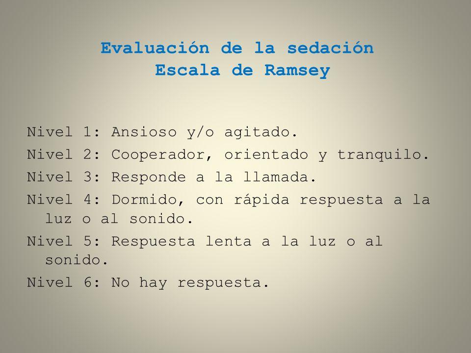Evaluación de la sedación Escala de Ramsey