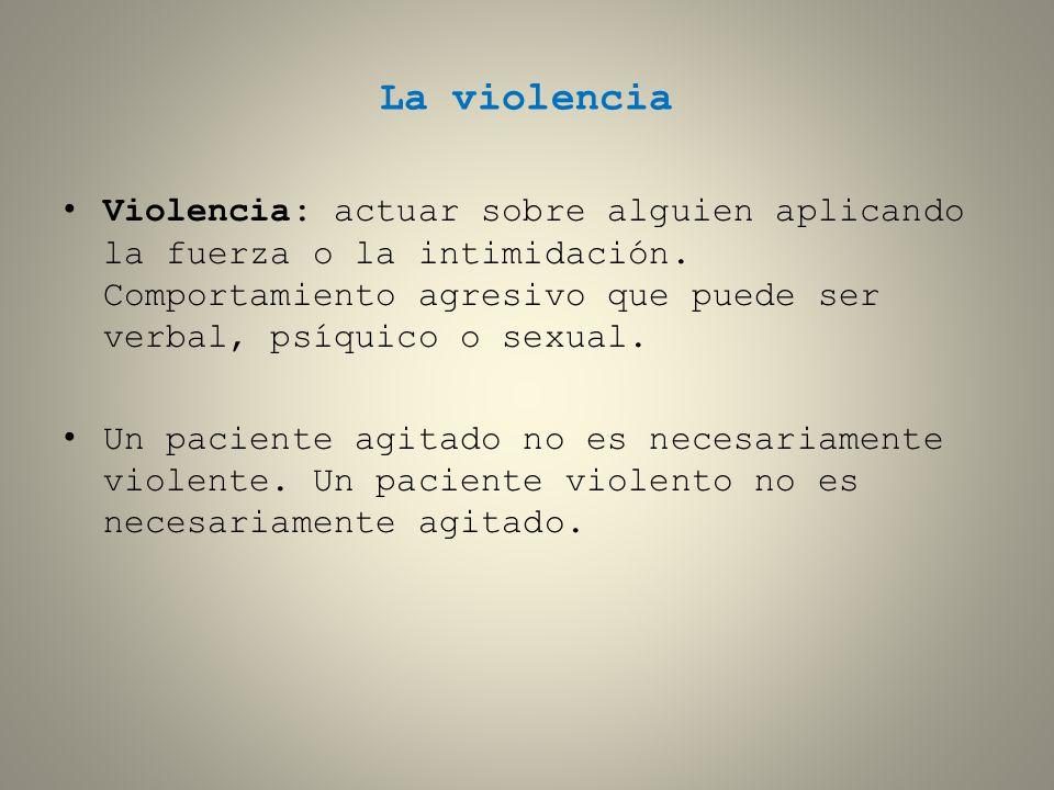 La violencia Violencia: actuar sobre alguien aplicando la fuerza o la intimidación. Comportamiento agresivo que puede ser verbal, psíquico o sexual.
