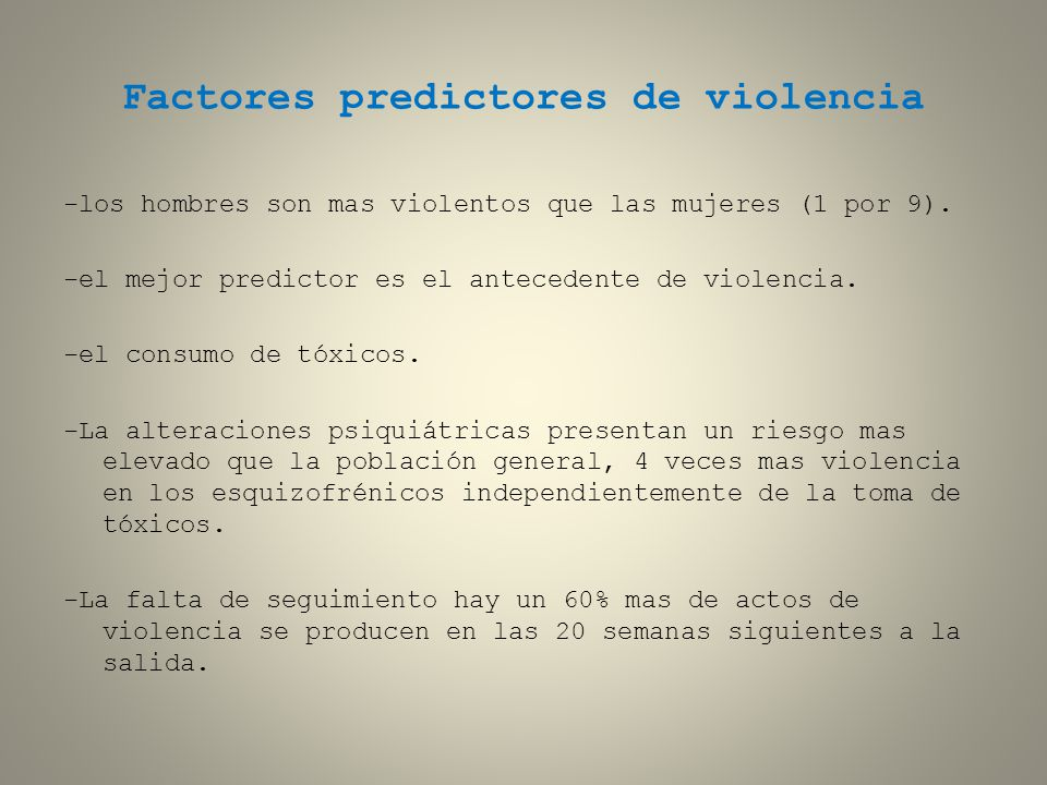 Factores predictores de violencia