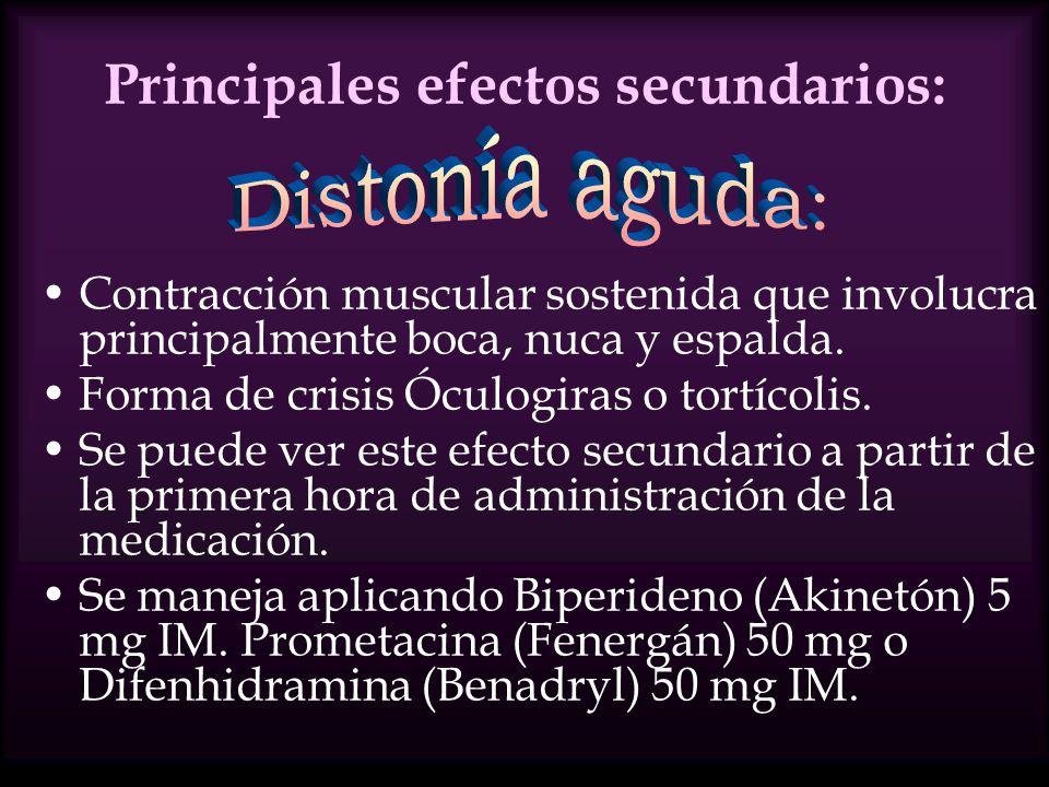 Principales efectos secundarios: