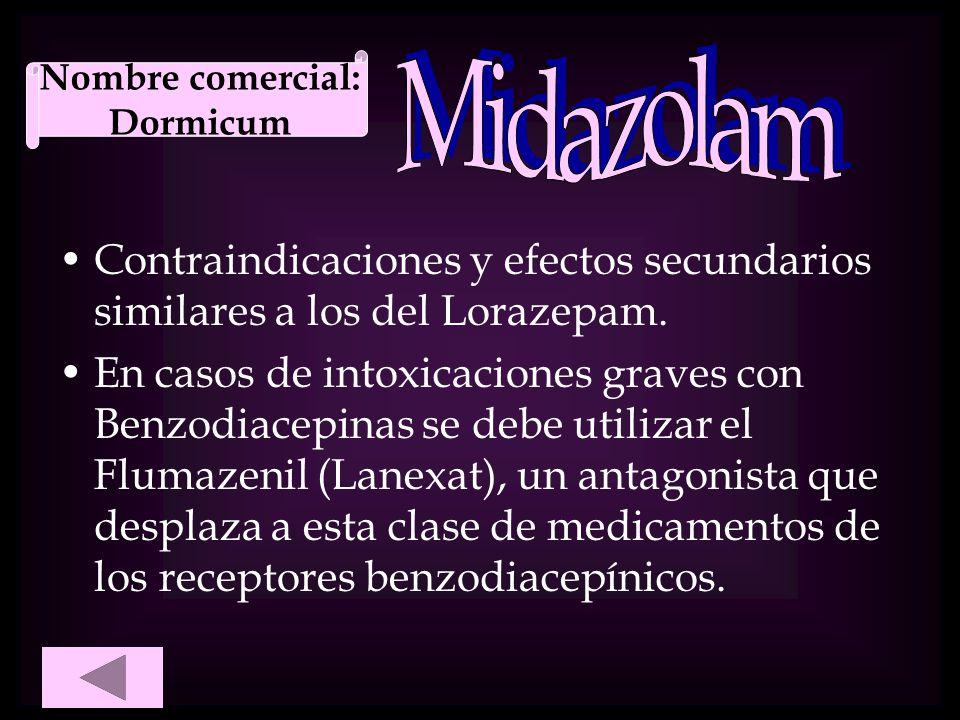 Nombre comercial: Dormicum. Midazolam. Contraindicaciones y efectos secundarios similares a los del Lorazepam.