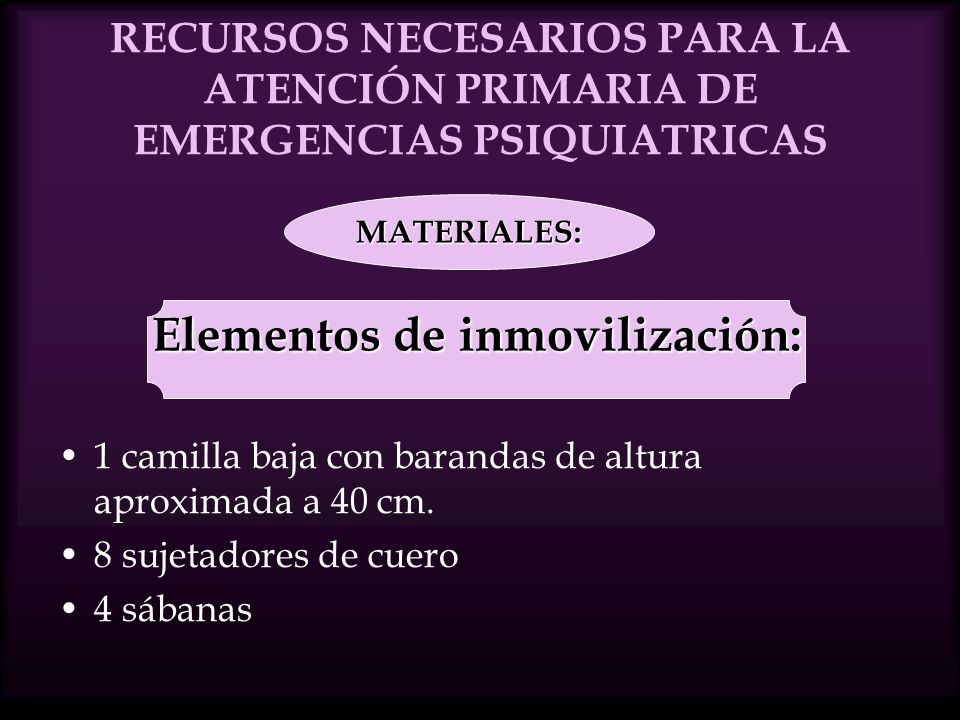 Elementos de inmovilización: