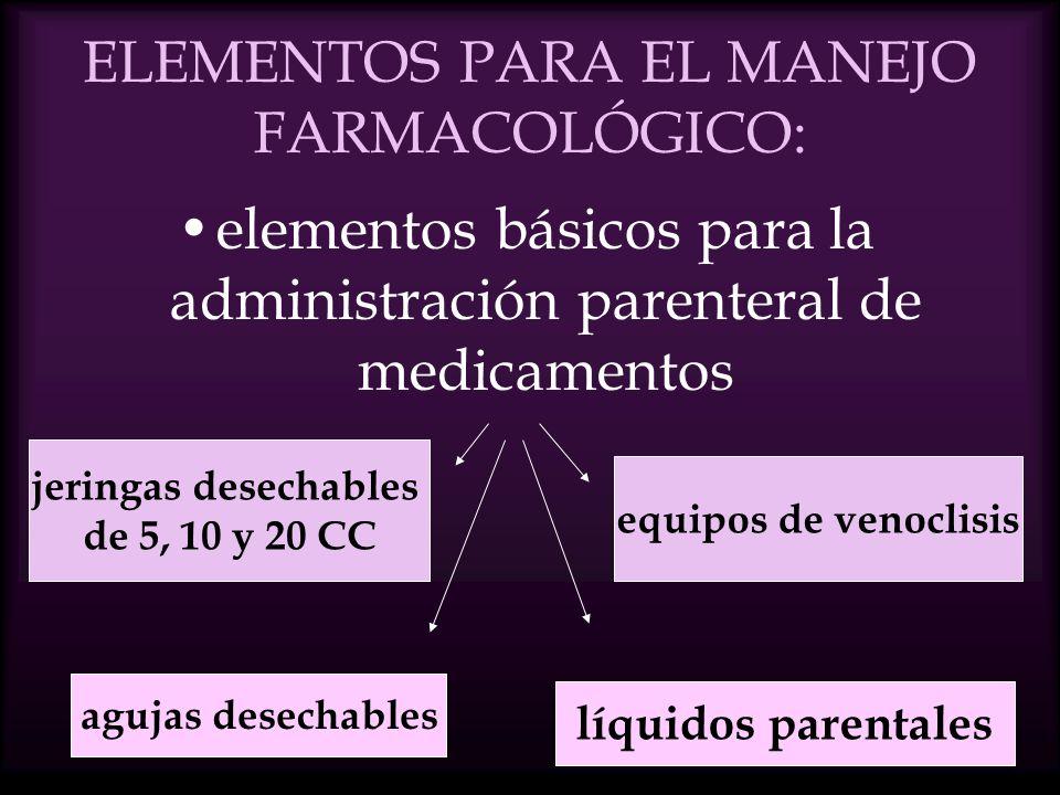 ELEMENTOS PARA EL MANEJO FARMACOLÓGICO: