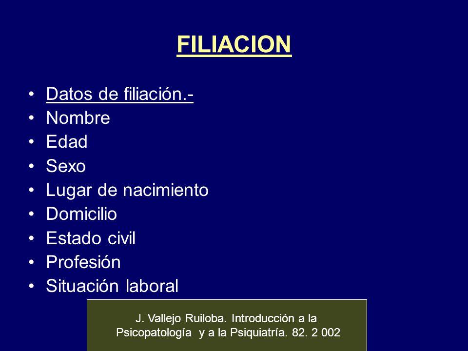 FILIACION Datos de filiación.- Nombre Edad Sexo Lugar de nacimiento