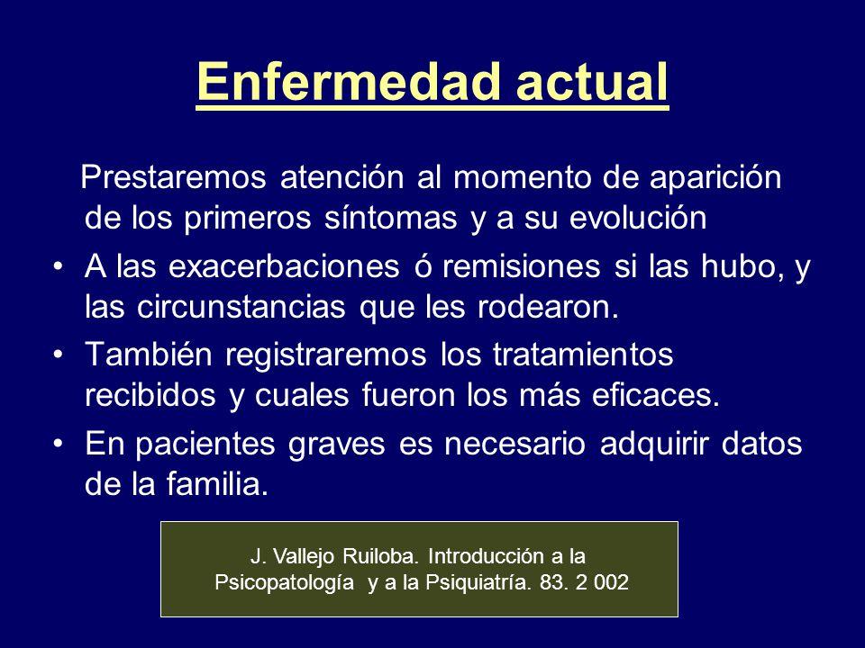 Enfermedad actual Prestaremos atención al momento de aparición de los primeros síntomas y a su evolución.